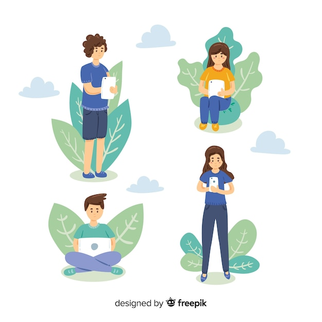 Hand drawn young people using technological devices collection Free Vector
