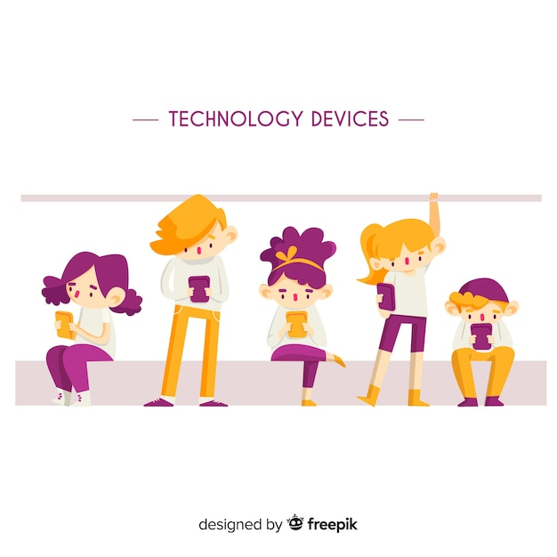 Hand drawn young people using technological devices in public transport pack Free Vector