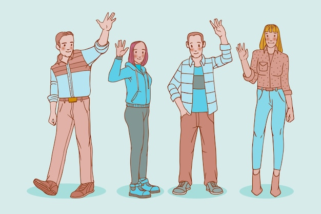 Hand drawn young people waving hand pack Free Vector