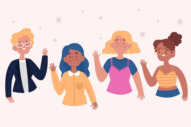 Hand drawn young people waving hand set Free Vector