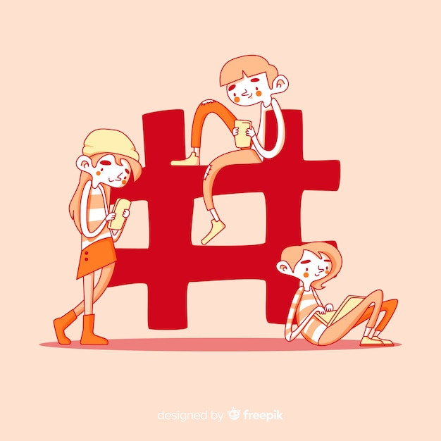 Hand drawn young people with hashtag symbol Free Vector