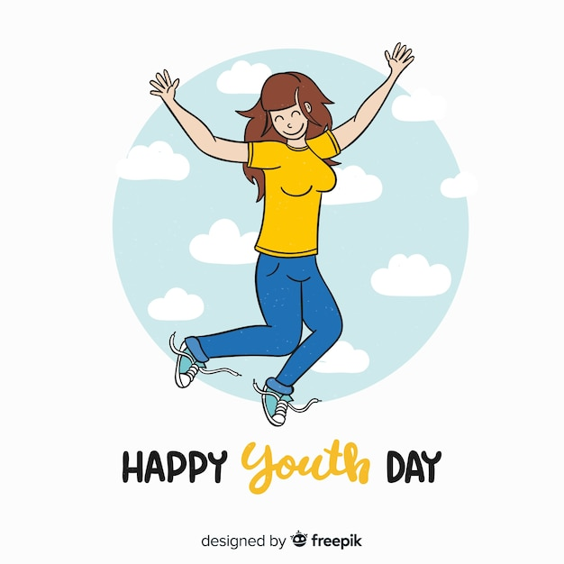 Hand drawn youth day background with young people Free Vector