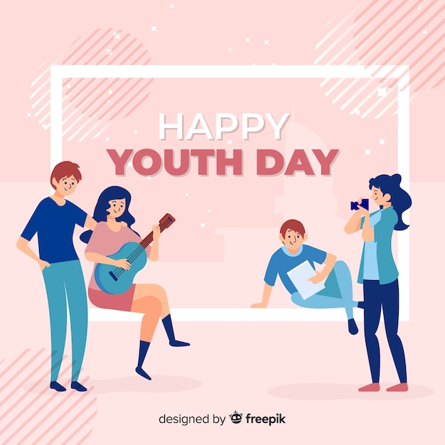 Hand drawn youth day background Free Vector