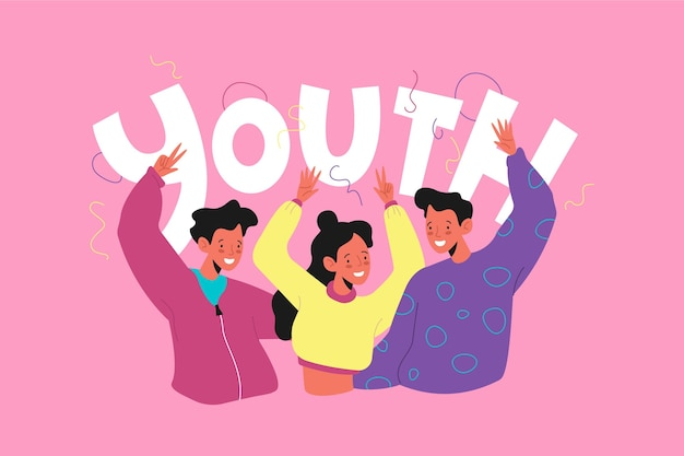 Hand drawn youth day concept Free Vector