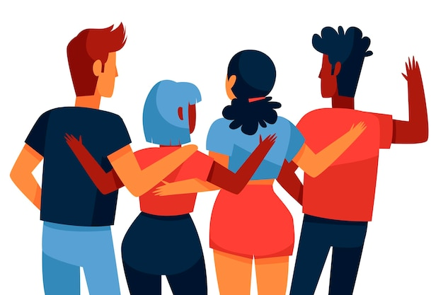 Hand drawn youth day - people hugging together Free Vector