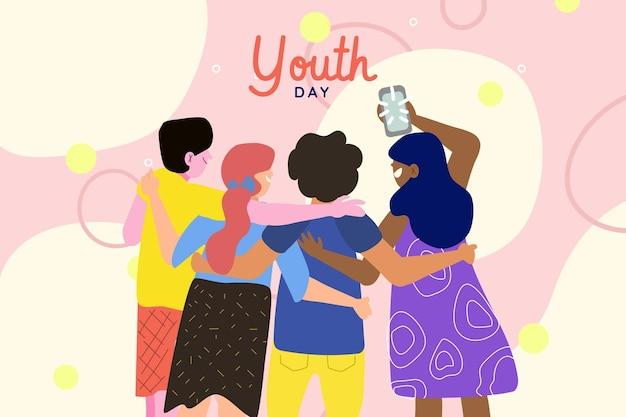 手描きの若者の日-人々が一緒にハグ 無料ベクター