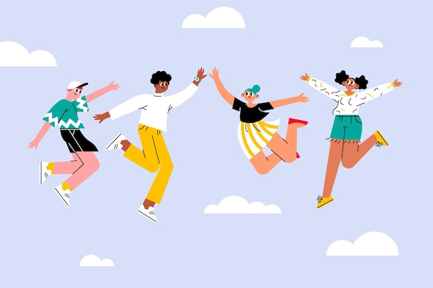 Hand drawn youth day with jumping people Free Vector