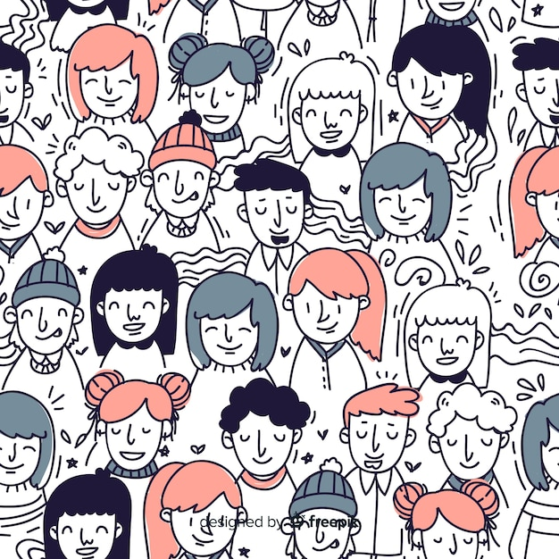 Hand drawn youth people pattern Free Vector