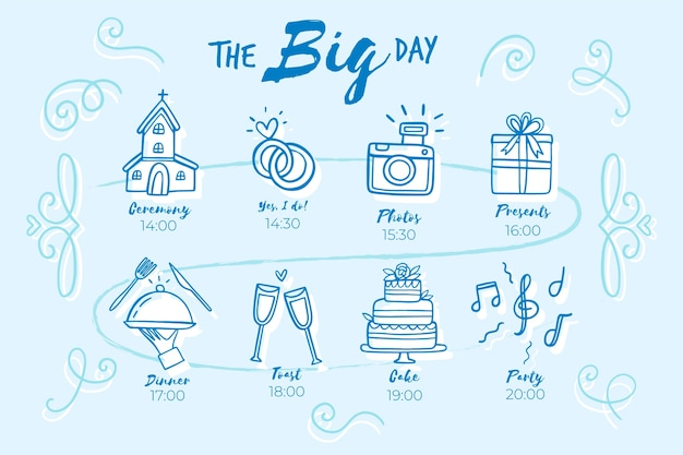 Hand drawn youthful wedding timeline Free Vector