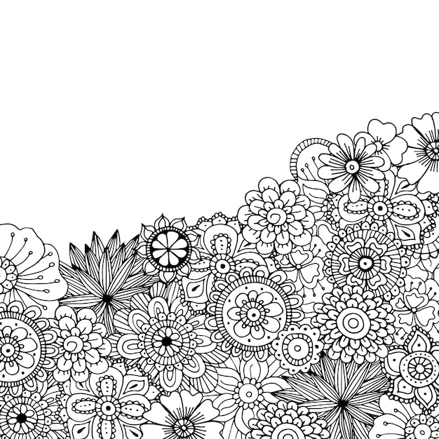 Hand drawn zentangle doodle illustration for adult coloring books Premium Vector
