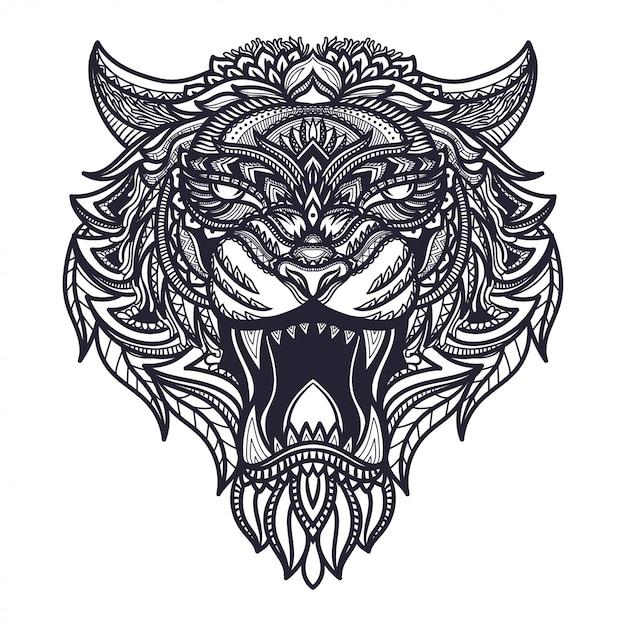 Нарисованная рукой иллюстрация головы тигра zentangle Premium векторы