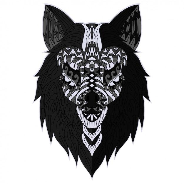 手描きzentangleオオカミの頭のイラスト Premiumベクター