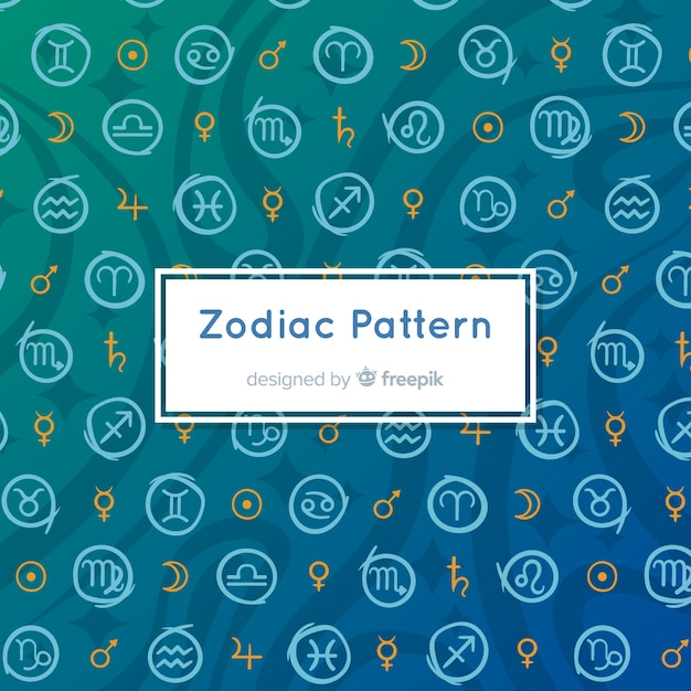 Hand drawn zodiac pattern Free Vector