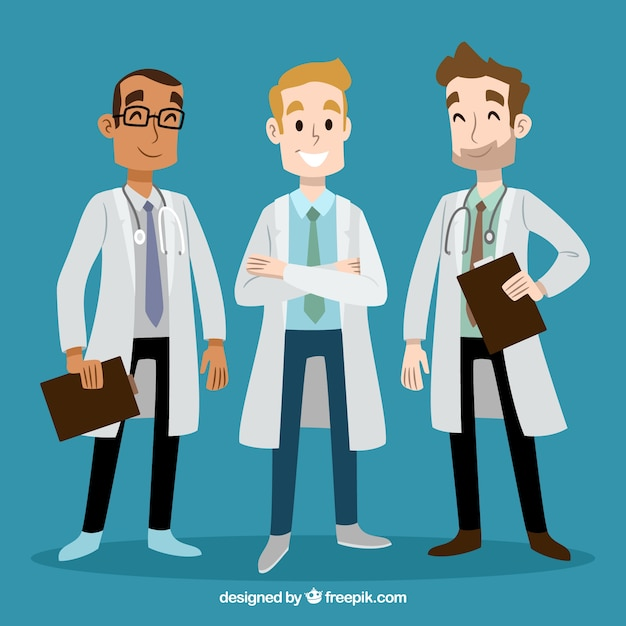 Hand drwan smiley doctors Free Vector