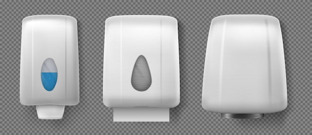 Hand dryer, dispensers with soap and paper towel Free Vector