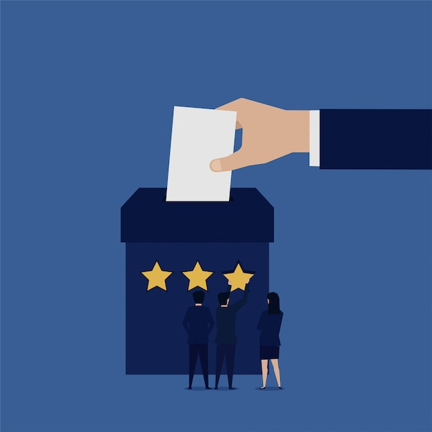 Hand entering paper to box for voting business team. Premium Vector