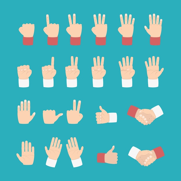 Hand expression with various style Premium Vector