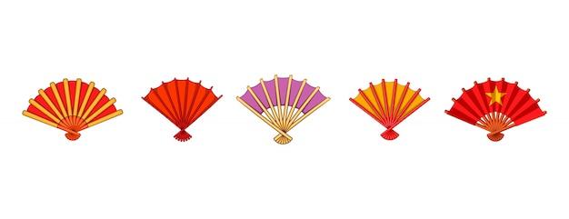 Hand fan element set. cartoon set of hand fan vector elements Premium Vector