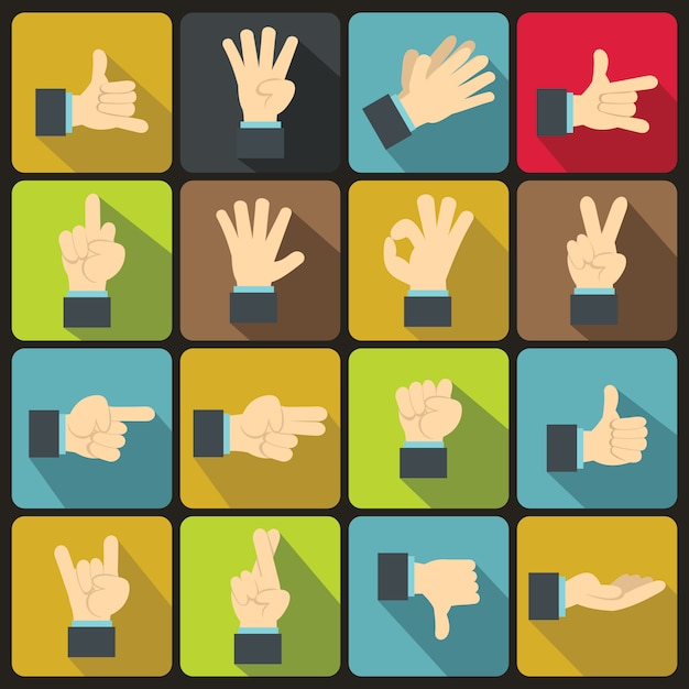 Hand gesture icons set, flat style Premium Vector