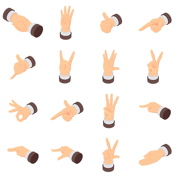 Hand gesture palm pointer icons set. isometric illustration of 16 hand gesture palm pointer vector icons for web Premium Vector