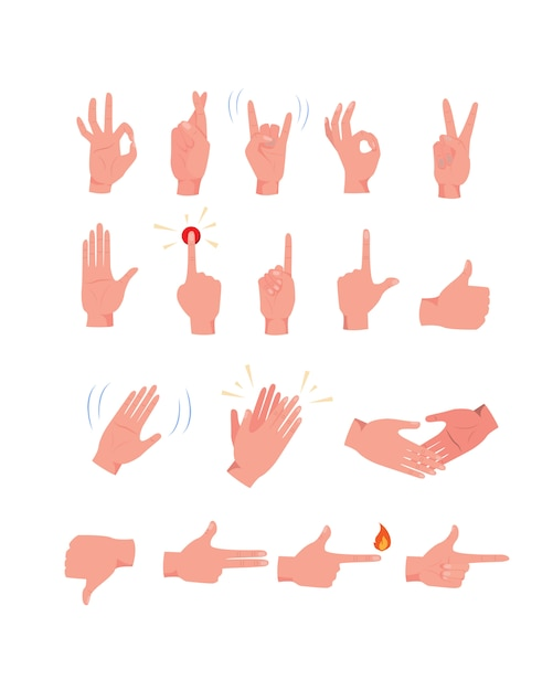Hand gestures  icon kit Free Vector