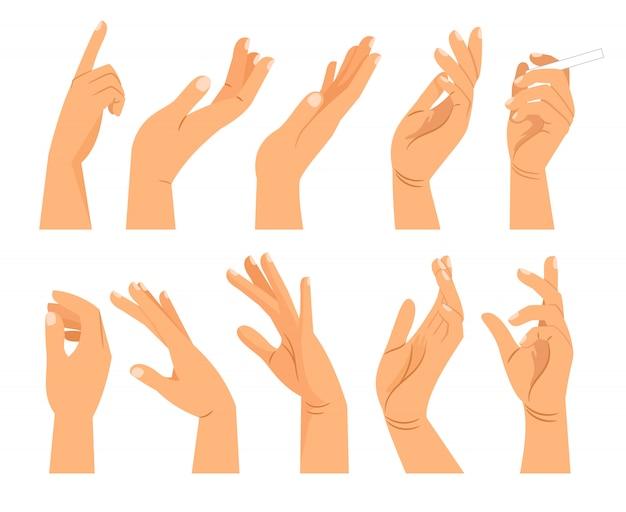 Жесты рук в разных положениях Premium векторы