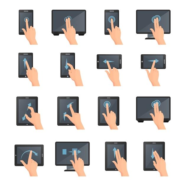 タッチデジタルデバイスの手ジェスチャーフラットカラー分離装飾アイコンコレクション 無料ベクター