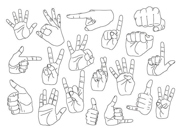 Hand gestures set Premium Vector