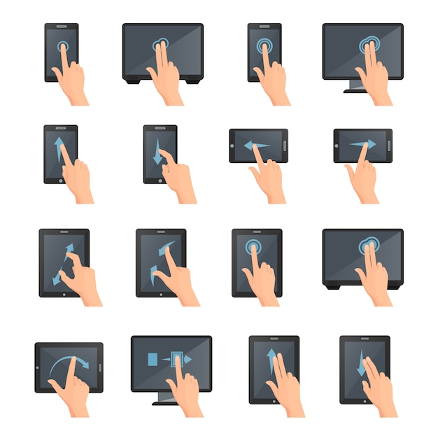 Hand gestures on touch digital devices flat colored isolated decorative icons collection Free Vector