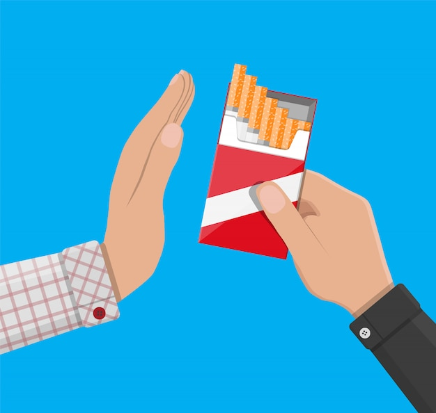 Hand gives cigarette to other hand. Premium Vector