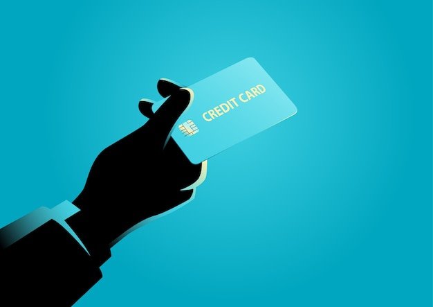 Hand giving a credit card Premium Vector