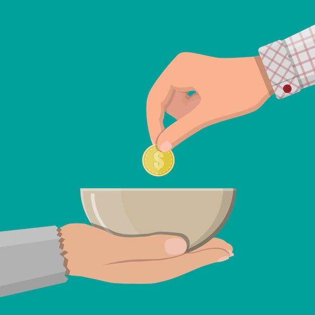 Рука, дающая золотую монету другой руке Premium векторы