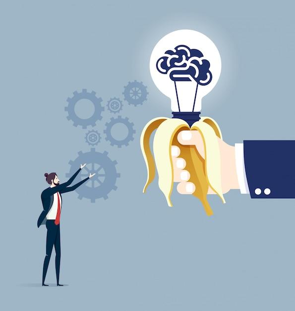 Hand giving idea business concept vector Premium Vector