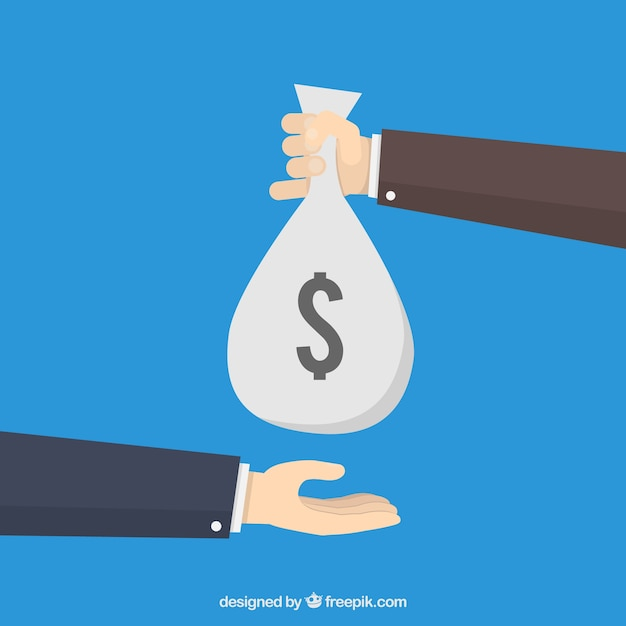 Hand giving money bag to other hand Free Vector