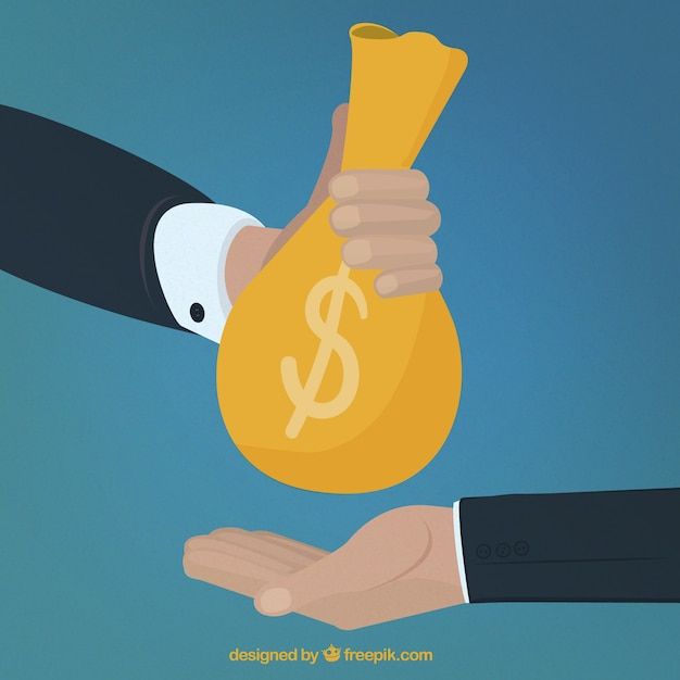 Hand giving money to other hand Free Vector