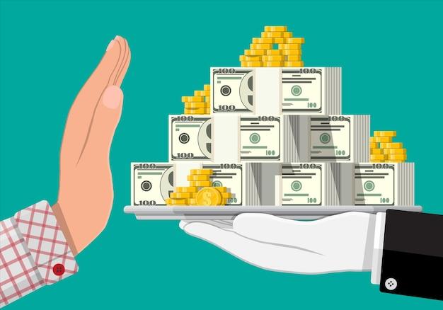 Рука дает деньги в другую руку. поднос с долларовыми банкнотами, золотыми монетами. скрытая заработная плата, зарплаты черных выплат, уклонение от уплаты налогов, взятки. концепция борьбы с коррупцией. Premium векторы