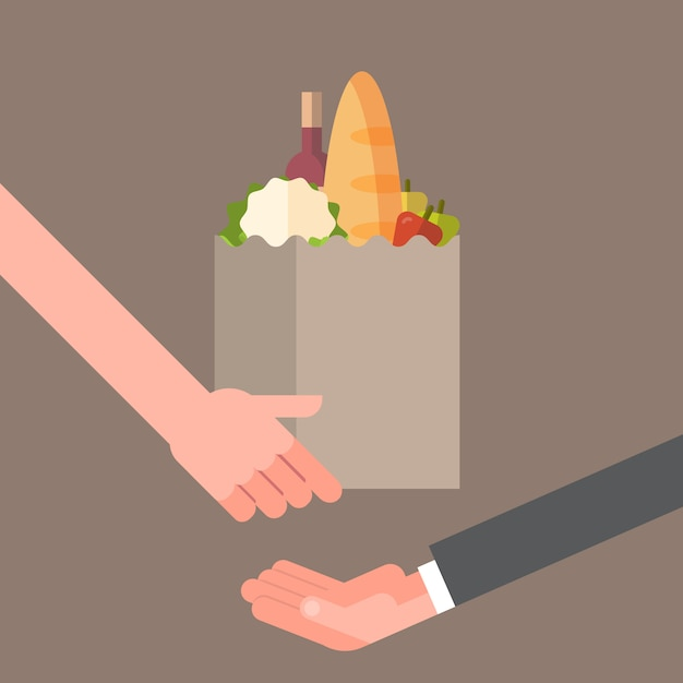 Hand giving paper bag full of products, grocery delivery service concept Premium Vector