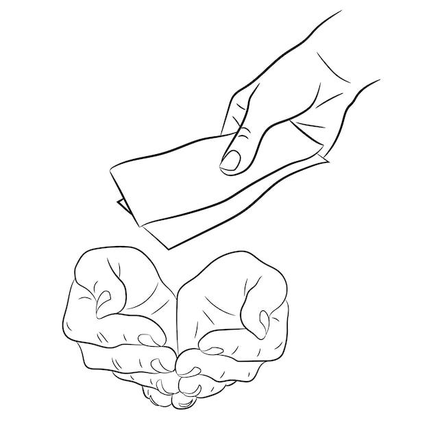 Hand, giving and taking money banknotes of monochrome vector illustration Premium Vector