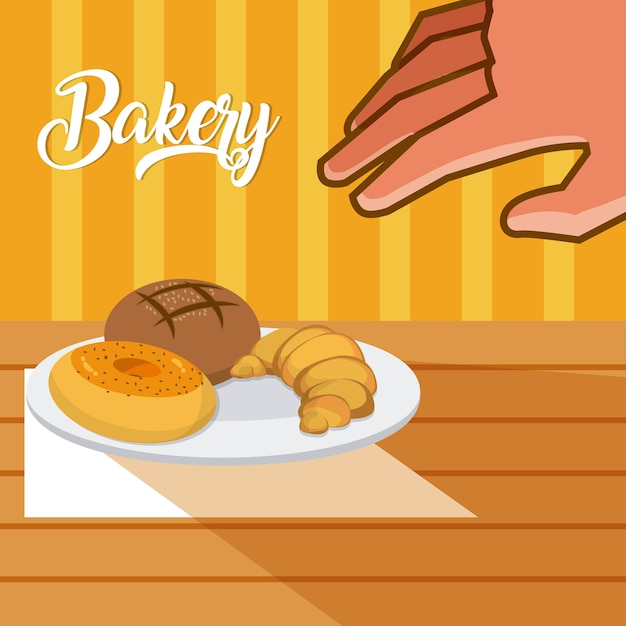 Hand grabbing bakery products on dish Premium Vector
