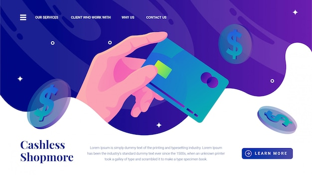 Hand grabs credit card cashless payment method landing page Premium Vector