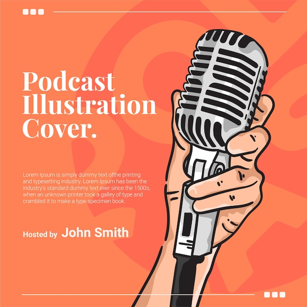 Hand grabs microphone podcast cover illustration Premium Vector