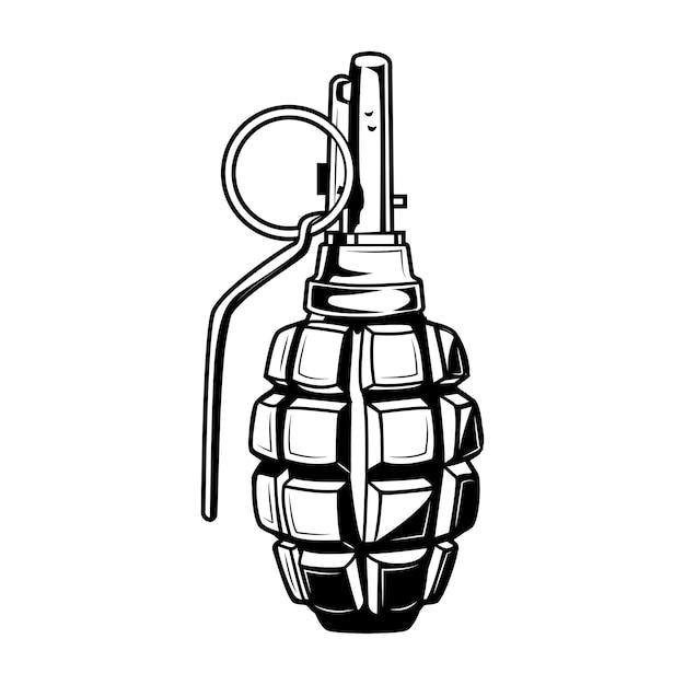 Illustrazione vettoriale di granata a mano. elemento di munizioni monocromatico vintage. concetto militare o dell'esercito per modelli di etichette o emblemi Vettore gratuito