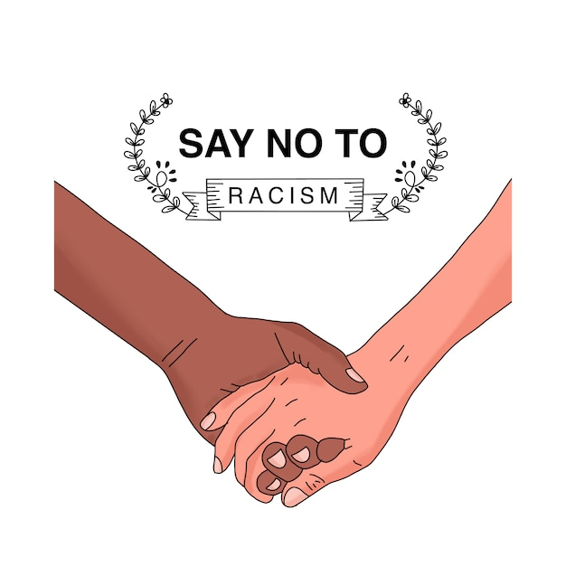 Hand in hand. say no to racism Premium Vector