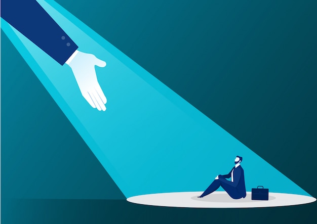 Hand helping businessman from light on blue Premium Vector