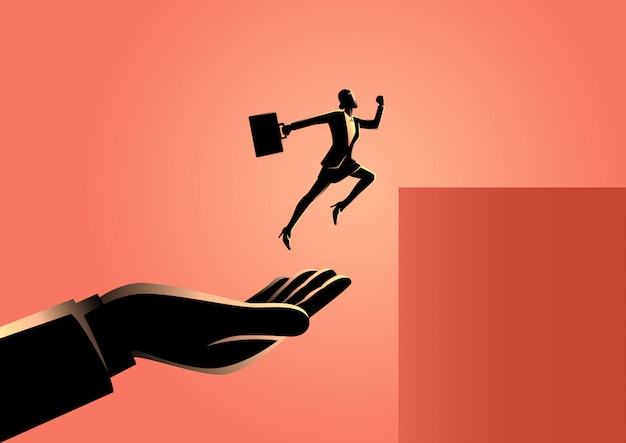 Hand helping a businesswoman to jump higher Premium Vector