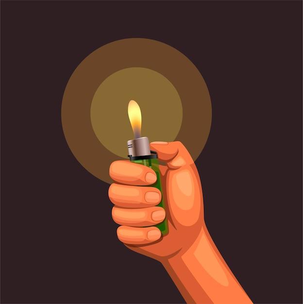Рука держит горящую зажигалку на темноте Premium векторы