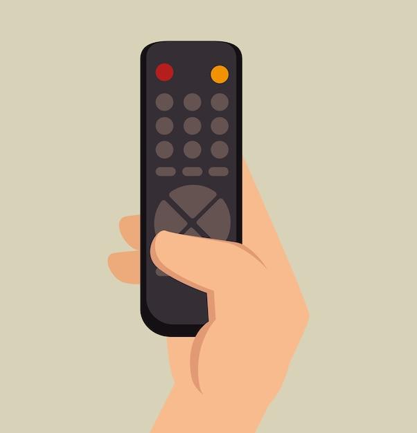 Hand hold control tv graphic Premium Vector