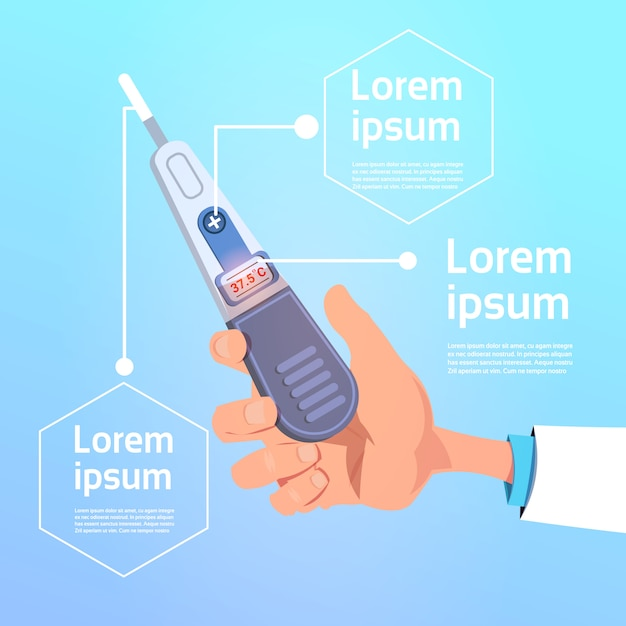 Hand hold digital medical thermometer Premium Vector