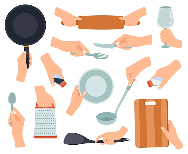 手は台所用品を保持します。女性の手、フライパン、ステンレスフォーク、ナイフ、両手で調理器具のイラストセットを調理します。ナイフとフォーク、鍋、調理器具 Premiumベクター