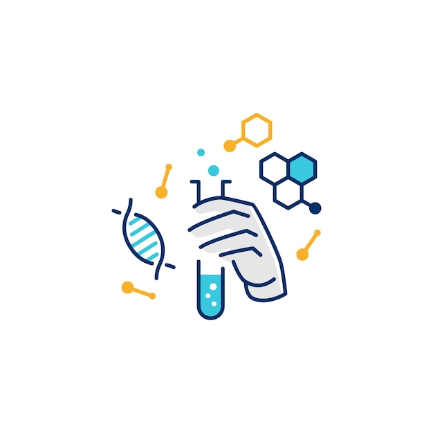 Hand hold laboratory glassware logo illustrative icon Premium Vector